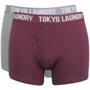 Tokyo Laundry Men's Tahoe 2-Pack Boxers - Mid Grey Marl/Oxblood