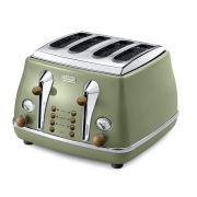 DeLonghi CTOV4003 Icona Vintage 4 Slice Toaster - Olive Green High Gloss