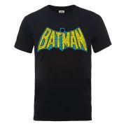 DC Comics Men's T-Shirt - Batman Retro Crackle Logo - Black