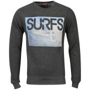 Osaka Men's Surfs Up Photo Print Crew Neck Sweatshirt - Charc Marl