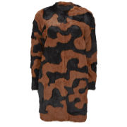 Diane von Furstenberg Women's Rabbit Fur Natalia Long Coat - Camo