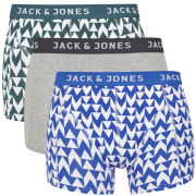 Jack & Jones Men's Cube 3-Pack Boxers - Grey/Blue/Green