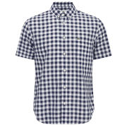 Lacoste Men's Short Gingham Poplin Shirt - Boreal