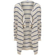Vero Moda Women's Everly Striped Waterfall Cardigan - White Asparagus