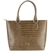 OSPREY LONDON Trader Croc Leather Tote Bag - Grey