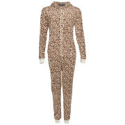 Tom Franks Women's Micro Fleece Animal Onesie - Cheetah