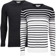 Brave Soul Men's Alexander 2 Pack Knitwear - White/Black/Mid Grey Marl