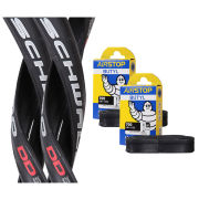 Schwalbe Ultremo DD Clincher Road Tyre Twin Pack with 2 Free Inner Tubes - Black 700c x 23mm