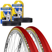 Veloflex Master 25 Clincher Road Tyre Twin Pack with 2 Free Tubes - Red 700c x 23mm