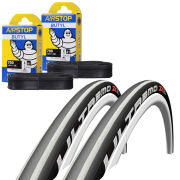Schwalbe Ultremo ZX  Clincher Road Tyre Twin Pack with 2 Free Inner Tubes - Silver Stripes 700c x 23mm