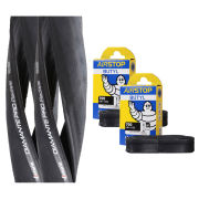 Vittoria Diamante Pro III Radiale Clincher Road Tyre Twin Pack with 2 Free Tubes - Black 700c x 24mm
