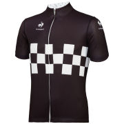 Le Coq Sportif Men's Cycling Performance Short Sleeve Checkered Jersey - Black