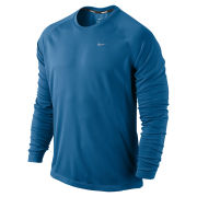 Nike Men's Miler Long Sleeve Running T-Shirt - Military Blue