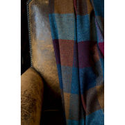 Avoca Lambswool Harriett Throw (142 x 183cm) - Blue/Mustard/Red