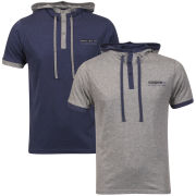 Brave Soul Men's Hooded 2-Pack T-Shirt - Grey Marl/Indigo Denim