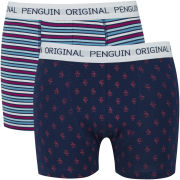 Original Penguin Men's 2 Pack All Over Penguin Striped Boxers - Navy/Multi