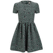 Matthew Williamson Women's Gathered Leopard Strawberry Mini Dress - Emerald