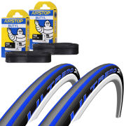 Schwalbe Ultremo ZX Clincher Road Tyre Twin Pack with 2 Free Inner Tubes - Black/Blue 700c x 23mm