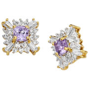 Two Toned Gold Plated Amethyst And Diamond Style Square Earrings