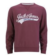 Jack & Jones Vintage Men's Access Sweatshirt - Burgundy