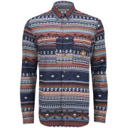 Jack and Jones Men's Jacob Aztec Print Shirt - Dress Blue