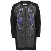 AnhHa Women's Embroidered Long Bomber Jacket - Black
