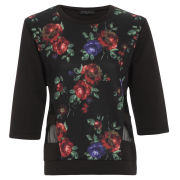 Damned Delux Women's Blurred Floral Soft Scuba Sweat - Multi
