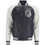 Billionaire Boys Club Men's Astro Leather Varsity Jacket - Navy/Ecru