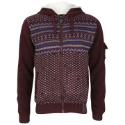 Brave Soul Men's Hyperon Print Detail Zip Thru Sweatshirt - Burgundy