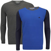 Brave Soul Men's Kinetic 2 Pack Knitted Jumpers - Charcoal/Royal Blue/Navy