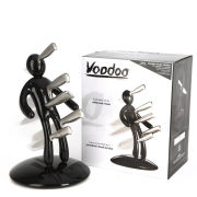 Black Voodoo Knife Block with 5 Knives by Raffaele Iannello