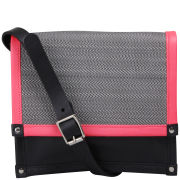 Kate Sheridan Woven Horse Hair 'Made in England' Boxy Bag - Black/Neon