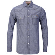 Tokyo Laundry Men's Rohan Nep Chambray Shirt - Shadow Blue