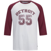 55 Soul Men's Ricky 3/4 Sleeve Detroit Raglan Top - Burgundy/White