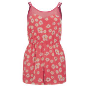 AX Paris Women's Daisy Print Playsuit - Coral