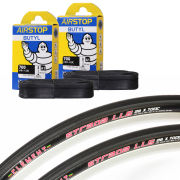 Clement Strada LGG Clincher Road Tyre 120 TPI Twin Pack with 2 Free Inner Tubes - Black - 700c x 25mm