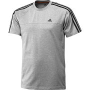 adidas Men's Essential 3 Stripe Crew Neck T-Shirt - Grey Marl/Black