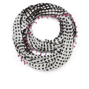 Diane von Furstenberg Women's Printed Circle Scarf with Pom Poms - Black/White
