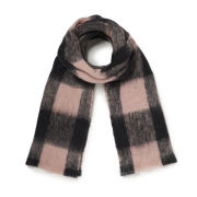 Maison Scotch Women's Large Wool Check Scarf - Baby Pink/Black
