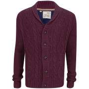 Brave Soul Men's Shawl Neck Cardigan - Bordeaux