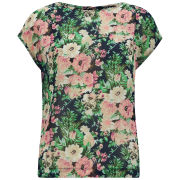 VILA Women's Floral Poet Top - Navy