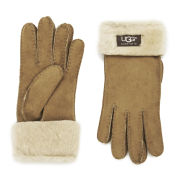 UGG Australia Women's Classic Turn Cuff Shealing Gloves - Chestnut