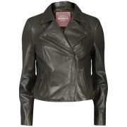 Barneys Women's Real Leather Biker Jacket - Khaki