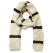 Maison Scotch Faux Fur Stripe Scarf - Cream