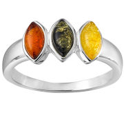 Silver Plated Amber Oval Gem Stone Ring