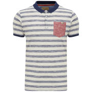 Brave Soul Men's Hermann Striped Polo Shirt - Ecru/Navy/Red