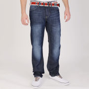 Crosshatch Mens Oklahoma Mid Rise Belted Denim Jeans - Dark Wash