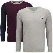 Brave Soul Men's Kinetic 2 Pack Knitted Jumpers - Grey Marl/Aubergine/Dark Navy & Grey Marl
