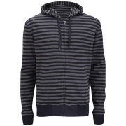 French Connection Men's Double Stripe Sweat Hoody - Marine Blue/Charcoal Melange
