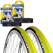 Veloflex Corsa 23 Clincher Road Tyre Twin Pack with 2 Free Inner Tubes - Yellow 700 x 22c